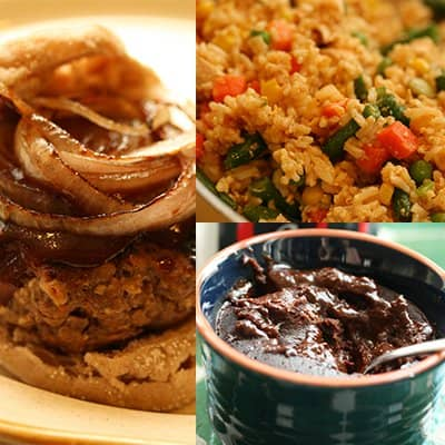 BBQ Burger, Fried Rice with Chicken and Chocolate Cake